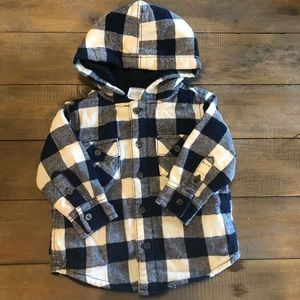 Gymboree boys long sleeved hooded button up